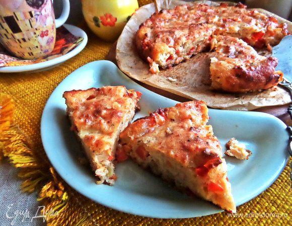 Творожный пирог с лососем и хлопьями «7 злаков»