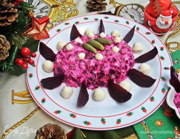 Свекольный салат с курицей и фетой