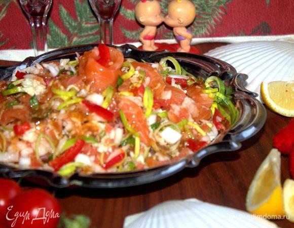 Салат с грейпфрутом и рыбой