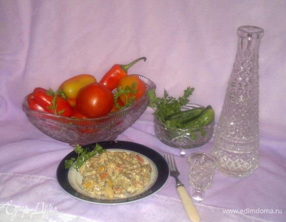 Вешенки с овощами, тушенные в сметане