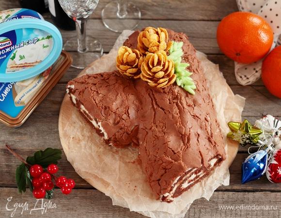 Торт «Рождественское полено» без выпечки