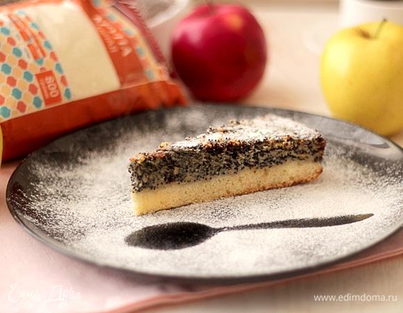 Яблочно-маковый пирог на песочной основе