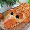 Пирог «Крокодил» с капустой и фаршем