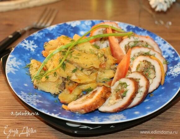 Свиная отбивная с начинкой и картофелем