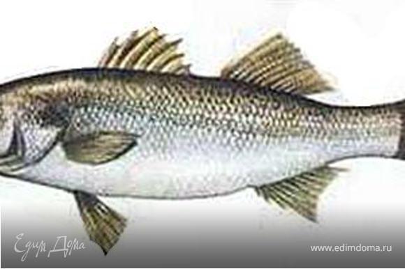 Сибас выпотрошить, очистить от чешуи, удалить жабры. С обеих сторон тушки сделать диагональный надрез (сверху вниз от головы до хвоста). Натереть рыбу паприкой, солью, белым перцем и чесноком (выдавить через пресс).
