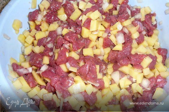 Мясо нарезаем на маленькие кусочки, картошку на небольшие брусочки, лук мелко шинкуем. Все смешиваем и приправляем солью и перцем. Наша начинка готова.