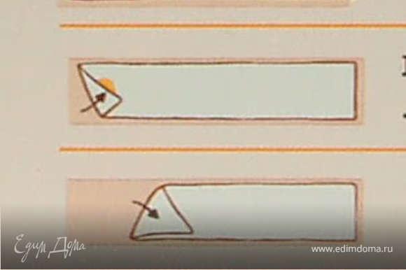 Выкладывать небольшое количество начинки на полоску теста,смазывать небольшим количеством масла и заворачивать по диагонали