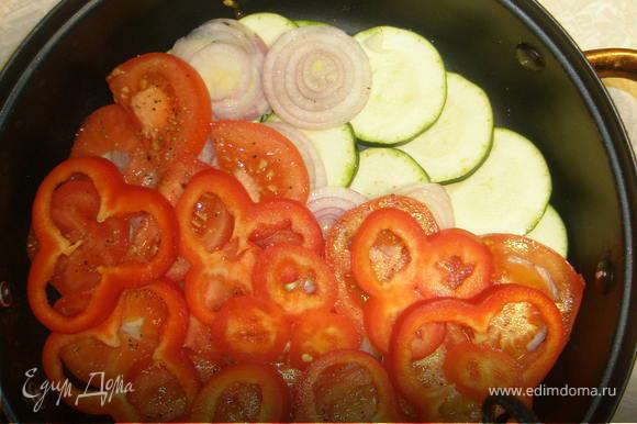 В глубокую сковородку выложить слоями: кабачки, затем лук, помидоры и перец.