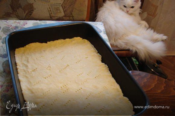 Противень смазать маслом, выложить тесто с бортиками, наколоть вилкой и запечь в духовке 13-15 минут.