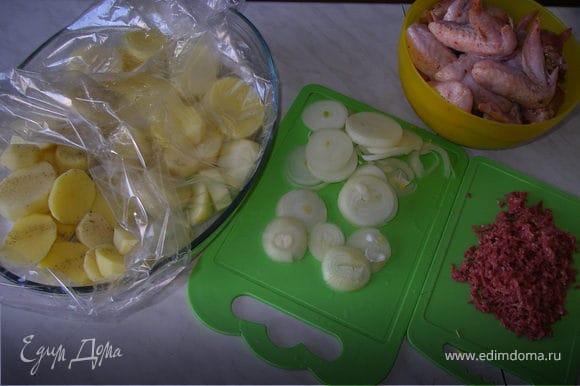 Картофель нарезать кружочками толщиной 1-1,5см., посолить и выложить первым слоем в рукав. сверху обсыпать натертым через терку сервелатом, сверху - лук кольцами, и снова посыпать сервелатом.