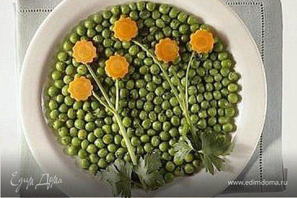зеленый горошек, морковка, петрушка