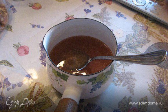 Сироп: К моменту выхода из духовки Пахлавы, сироп должен быть готов. Нагреваем 3/4 стакана воды, высыпаем в нее 3/4 стакана сахарного песка, греем до растворения сахара, затем добавляем полученный сироп к 1,5 стаканам меду.