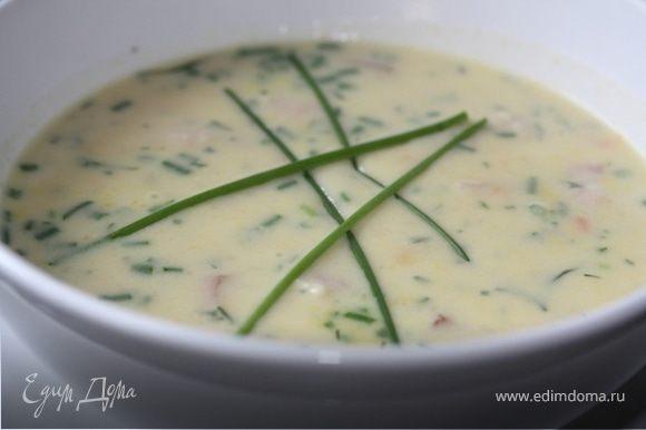 Суп взбиваем в блендере до однородной массы. добавляем гущу и приправляем зеленью Суп готов!БоН АппЕтитт!!!