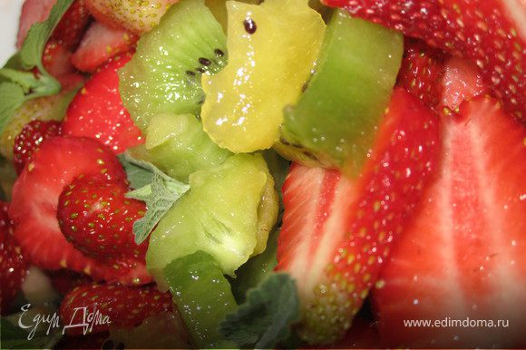 Порезать фрукты кусочками. Добавить листочки мяты.