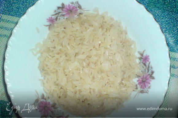добавить хорошо промытый рис ,соль и специи