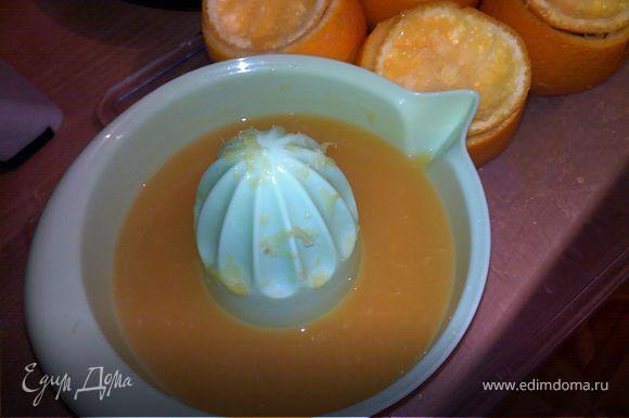 с остальных апельсинов и лимонов отрезать шляпку и выжать тоже сок, постараться максимально вычистить мякоть и чуть чуть отрезать низ (так чтобы они могли стоять)и отправить в морозилку, чтобы заморозить до белого инея. Полученный сок соединить с цедрой и соком .