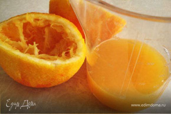 Выжать сок из 1 апельсина. Получается 100 мл.