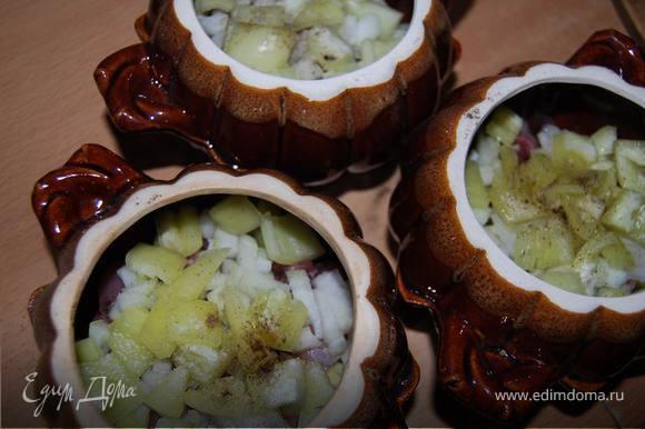 На дно горшочка наливаем немного растительного масла. Затем выкладываем поочередно слоями (солим и перчим каждый слой) нарезанные небольшими кубиками овощи и мясо: нижний слой -картофель, мясо, лук,..