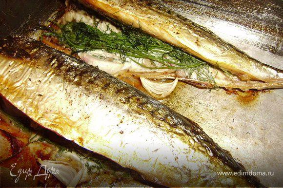 Разогрела духовку до 180С...Выложила рыбку на противень....сбрызнула оливковым маслом и на 40 минут в духовку.... И все рыбка готова... Очень вкусно... Приятного аппетита..