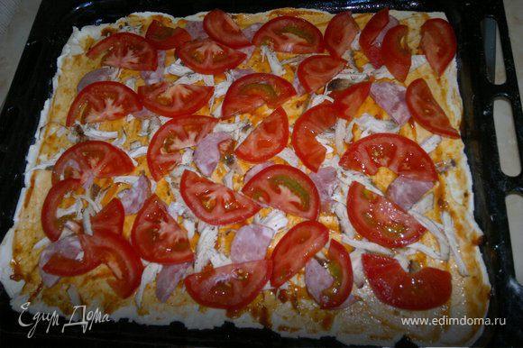 далее выкладываем помидоры и солим немного сверху