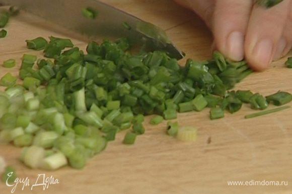 Зеленый лук порезать колечками.