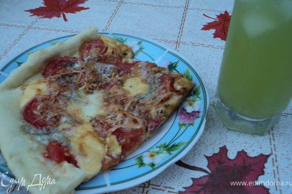 На лепешки положите кружочки томатов и ломтики чеснока. ПОсолите и поперчите, сверху сбрызните оливковым маслом. Затем посыпьте сыром и украсьте шалфеем. Выпекайте в течение 20 мин. Приятного аппетита!