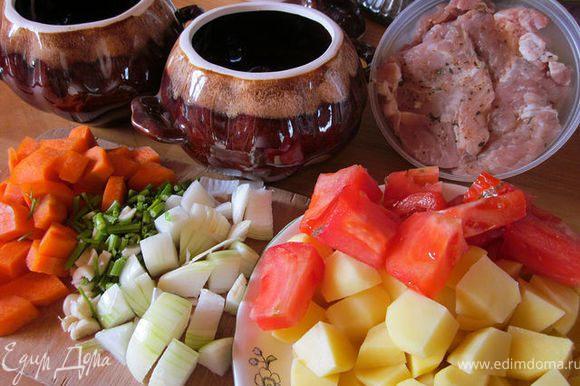 Все овощи произвольно порезать. Мясо посолить, посыпать приправой.