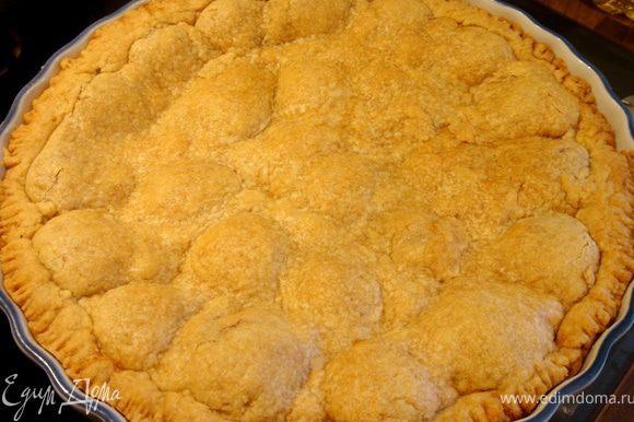 Выпекать пирог при t200*С до готовности(ок.30 мин.).Перед подачей присыпать пирог сахарной пудрой.Приятного аппетита!