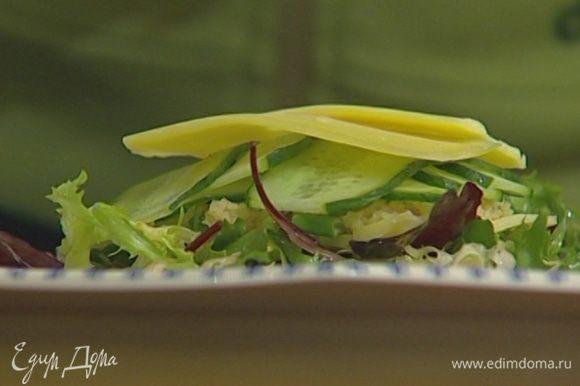 На тарелку выложить немного салата, затем пару кусочков сыра и 1–2 ст. ложки кускуса, посыпать все зеленым луком, накрыть ломтиками огурца и сыра, сверху выложить еще горсть салата и сбрызнуть оставшимся оливковым маслом.