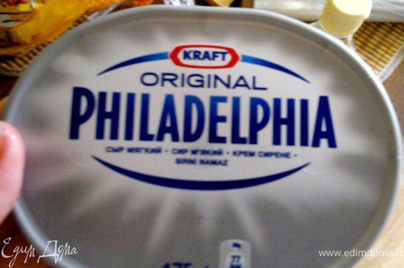 выкладываем на середину нори сыр филадельфия