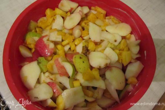 Форму смазать сливочным маслом, посыпать сухарями и выложить перемешаные фрукты.