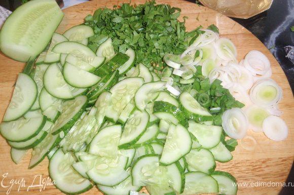 Нарезать огурцы полукольцами. Нашинковать лук-порей, зеленый лук и зелень.