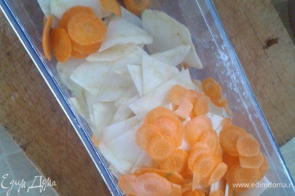 Порезать морковь и сельдерей (можно на шинковочной терке).