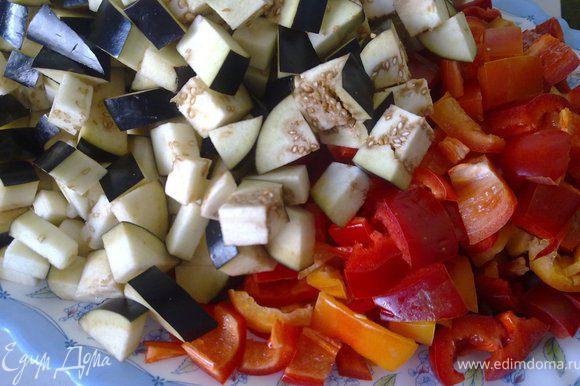 Овощи нарезать крупными кубиками. Я режу вот так.