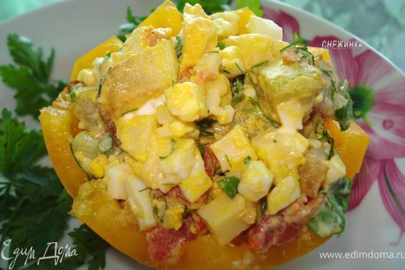 Уложить салат в «формочки» и подавать. Приятного аппетита!