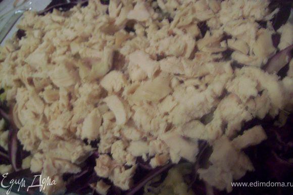 режем куриную грудку. тут 2 варианта.) ВАРИАНТ №1 режем ее мелко для салата и ВАРИАНТ №2 режем крупными кусками и получается полноценное блюдо из мяса и гарнира в лице чесночно-ореховой капусты