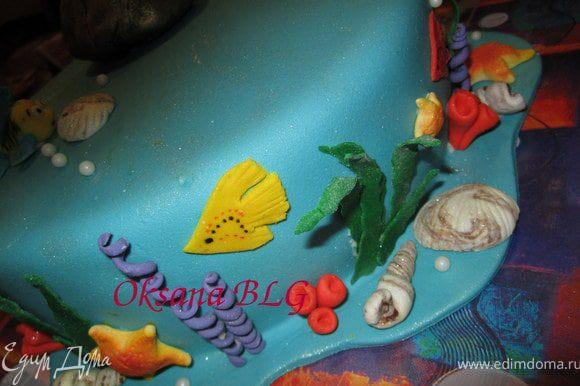 """По желанию по низу тортика можно насыпать мелкой крошки из печенья, для создания """"песочка""""."""