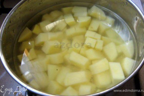Почистить картофель. Нарезать картофель на кубики и отварить в подсолёной воде.