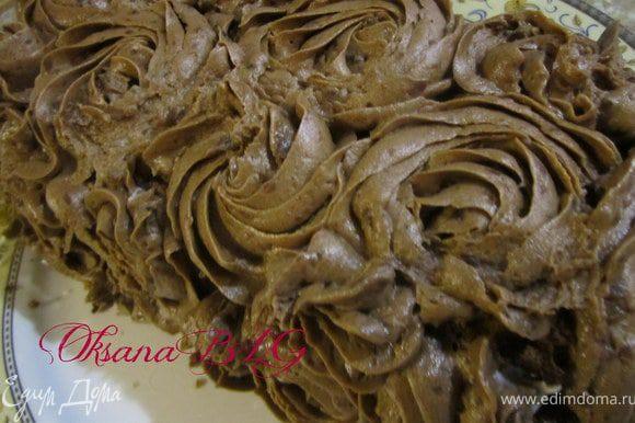 Приготовить крем как в рецепте http://www.edimdoma.ru/recipes/31716 часть муки заменить какао. С помощью шприца нанести крем на торт.