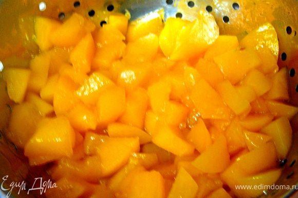 Уваренные персики откинуть на дуршлаг.Дать сиропу хорошо стечь.