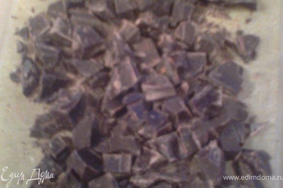 Рубим шоколад(тоже,чтоб кусочки чувствовались)