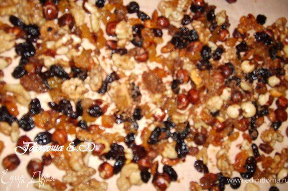 Перекладываем готовые орехи на дощечку покрытую пергаментом и оставляем так, чтобы наши орехи подсохли, а сахар затвердел.