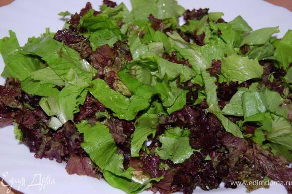 Листья салата крупно порезать