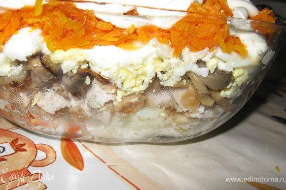 Выкладываем всё слоями и на каждый слой наносим сеточку из майoнеза. Майoнез выложить в пакет, проделать в пакете дырочку и выдавить майoнез в виде сеточки. Слои Картофель, натёртый на крупную тёрку. Курица. Грибы с луком. Яйца. Морковь.