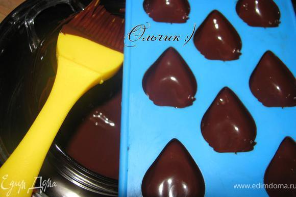 Промазываем щедро немного остывшим шоколадом формочку для конфет (шоколад не должен быть горячим, т. к. он весь стечет на дно формочки, а по краю будет совсем тонкий слой). Отправляем в холодильник на 15 минут до полного застывания.