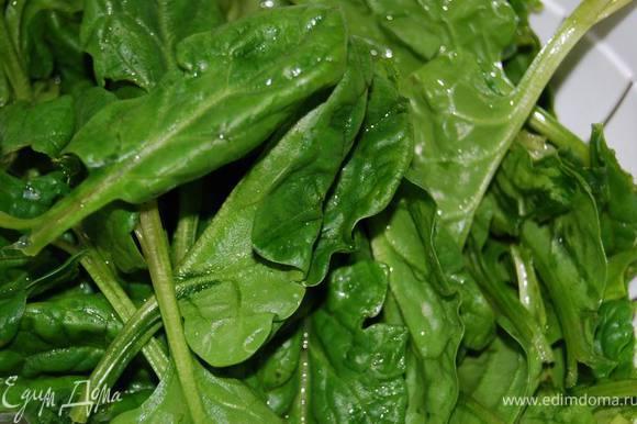 Промоем и просушим листья шпината.