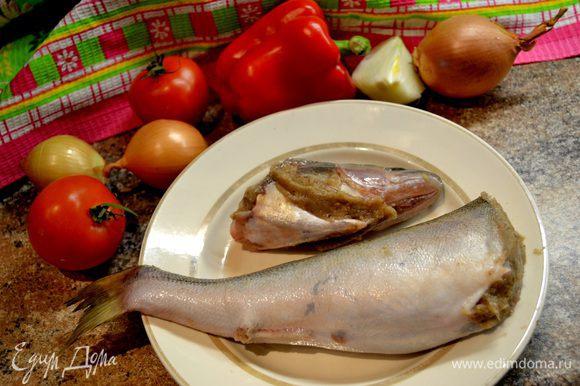 Филе рыбы,грибы(у меня белые),лук,специи для рыбы взбиваем блендером в фарш (или прокрутить в мясорубке).