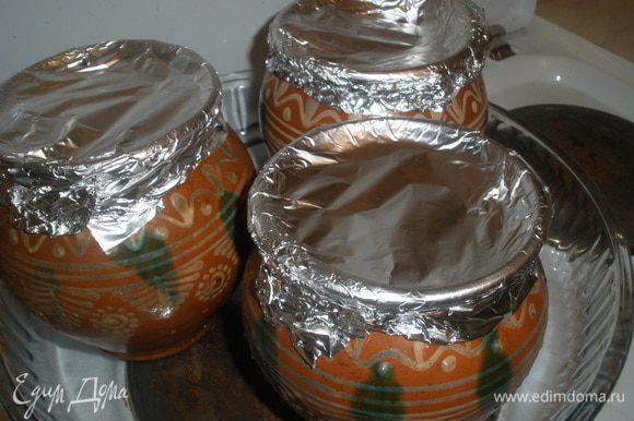 Закрываем горшочки крышками или фальгой и ставим в разогретую до 180 градусов духовку на 2 часа.
