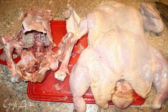 Всё...готово!!!Мясо курицы отделили от косточек... Девочки всё ооочень просто.....ножичком помогаете мясо с кости срезать и всё...как чулок всё снимется....не бойтесь попробовать...