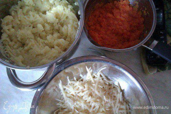 Первым делом варим сердечки. Долго. Час-полтора. Когда станут мягкими, остудить и прокрутить их через мясорубку. Картошку и морковку помыть,почистить,воду подсолить,отварить в ней картошку и морковь,слить,размять по отдельности,заправить сливочным маслом картошку. Остудить. Морковь не недо заправлять. Она нам пойдет для сочности и яркости. Сыр натереть на обычной терке.